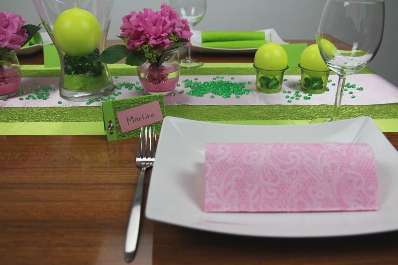 Tischdeko Tischdeko nach Farben Tischdeko grün Tischdeko grün rosa ...