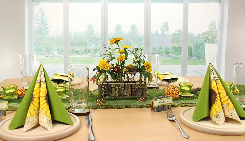 tischdeko gr n rosa mustertische trendmarkt24. Black Bedroom Furniture Sets. Home Design Ideas