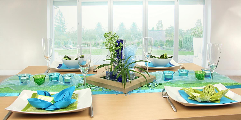 tischdeko blau gr n feier tischdekoration 360 ansicht. Black Bedroom Furniture Sets. Home Design Ideas