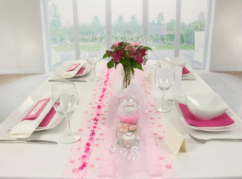 Tischdeko Rosa Weiss Fest Tischdekorationen