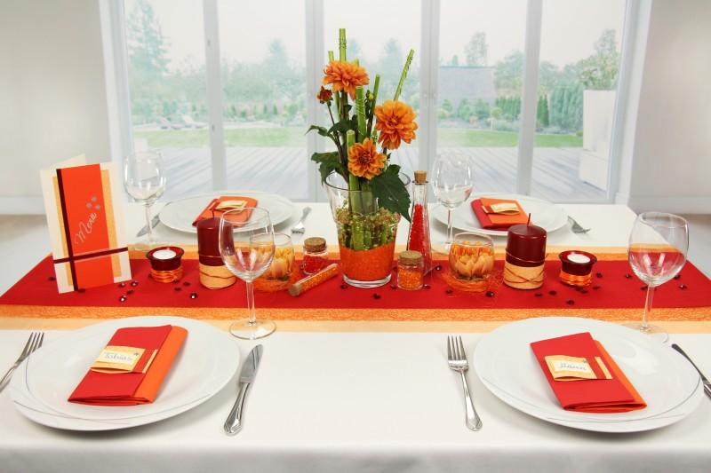 Tischdeko Orange Rot Fest Tischdekorationen