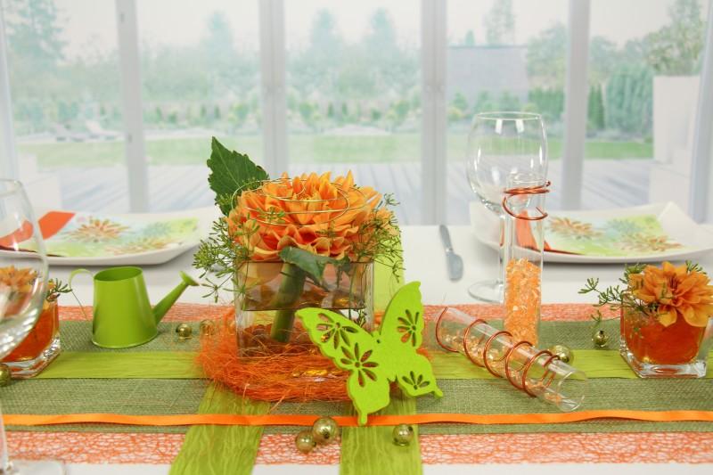 Tischdeko Orange Grun Feier Tischdekorationen