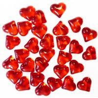 Acrylherzen rot, 30 Stück, ca. 2,1 cm groß