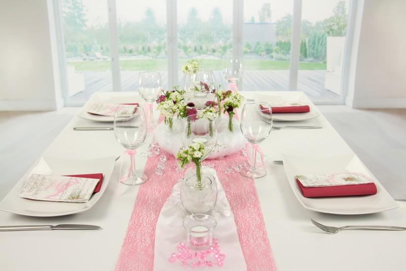 Tischdeko Rosa Weiss Feier Tischdekorationen