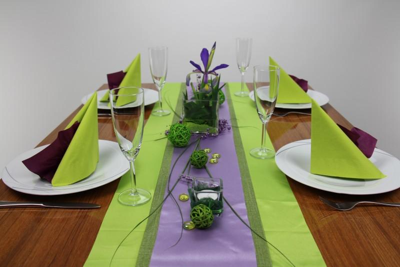 Tischdeko gr n lila mustertisch trendmarkt24 for Lila und grun mischen