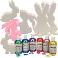Bastelset Styroporform Hase, 6 Stück mit Pearlfarben, Pastellfarben