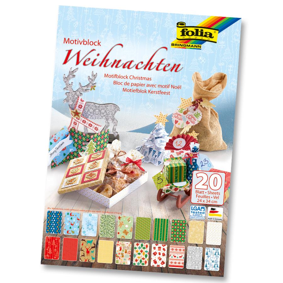 Bastelpapier Weihnachten.Motivblock Weihnachten 20 Blatt 24x34 Cm 270 G M