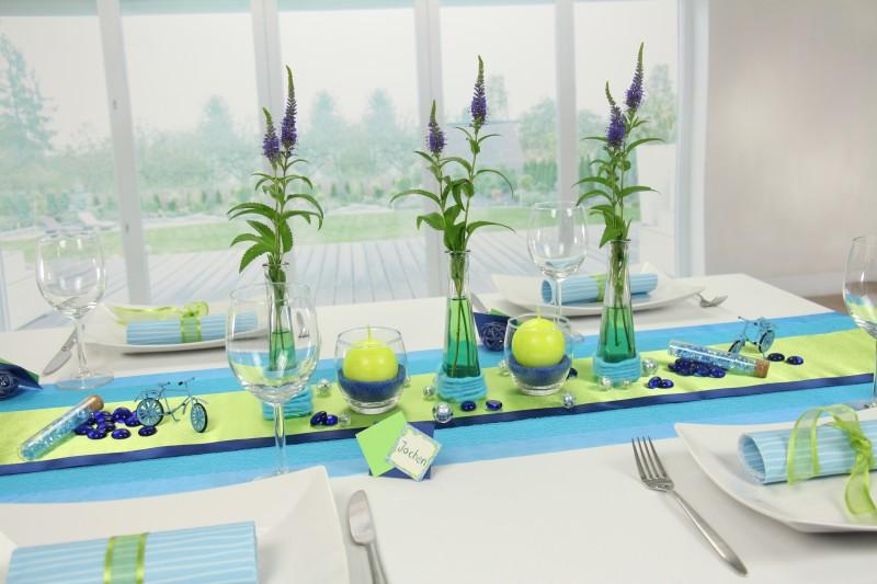 Tischdeko Blau Grun Fest Tischdekoration 360 Ansicht
