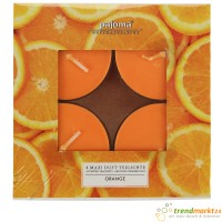 Maxi Teelicht Set Orange Duft in Polycarbonathülle 4 Stück Duftkerze