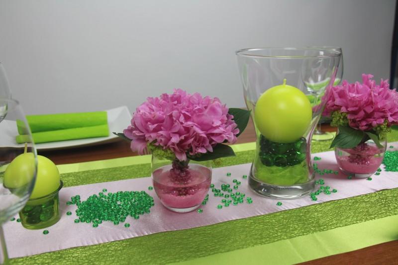 Tischdeko gr n rosa mustertische trendmarkt24 for Tischdeko rosa