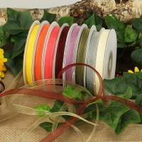 Chiffonbänder Set Herbstfarben 8 Rollen, je 6mm breit, 25m lang
