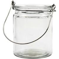 Glaslaterne mit Henkel, Höhe: 10 cm, Ø 7,6 cm