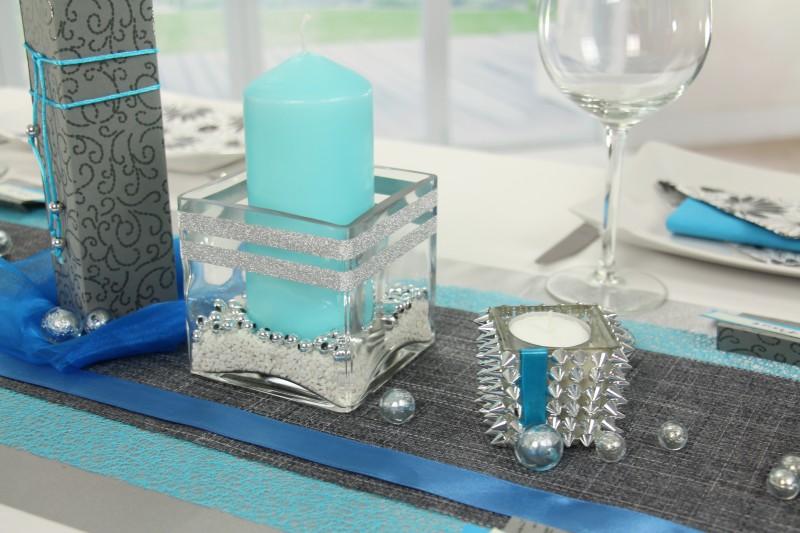 Tischdeko Blau Silber Fest Tischdekoration 360 Ansicht