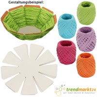 DIY Oster-Korb-Bastelset 10 Osternestchen + 5 Kordeln grün hellblau flieder pink orange