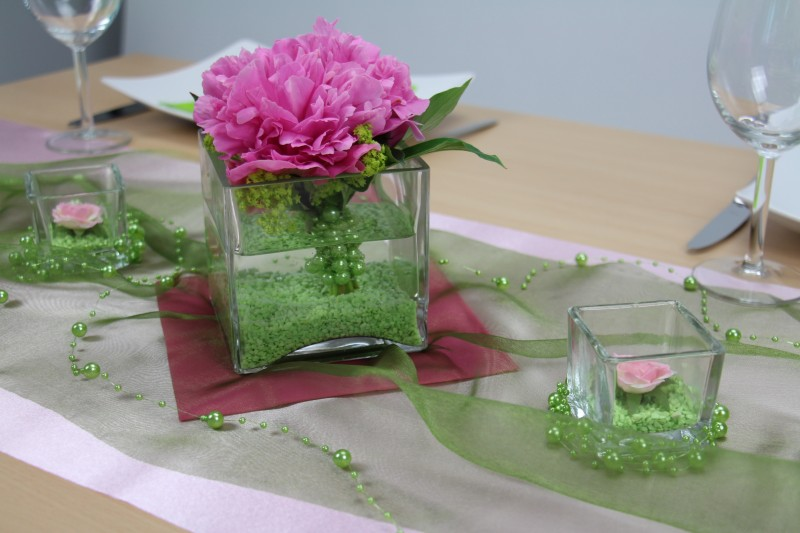 Tischdeko gr n rosa feier for Rosa tischdeko