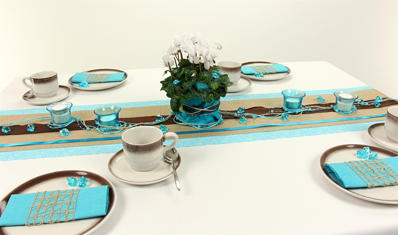 tischdeko t rkis tischdekorationen trendmarkt24. Black Bedroom Furniture Sets. Home Design Ideas