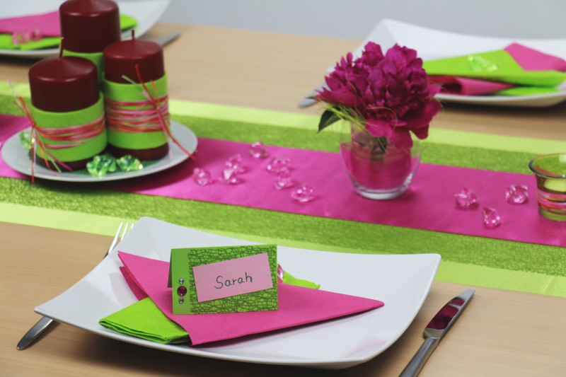 Tischdeko Grun Pink Mustertisch Trendmarkt24