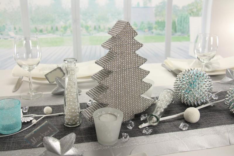 Tischdeko Weihnachten Silber Weiss